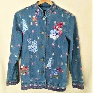 Denim & Co Floral Embroidered Denim Jacket Size XS